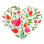 Watercolor greeting card with  heart and  flowers — Stock Vector