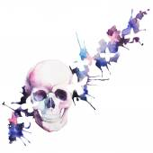 Watercolor skull in flowers spray — Stock Photo