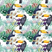 Watercolor  toucan  pattern — Stock Photo