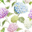 Hydrangea Watercolor flowers pattern — Stock Vector #63269709