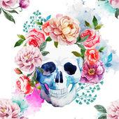 Peony watercolor skull — Stock Vector