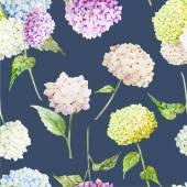 Hydrangea Watercolor flowers pattern — Stok Vektör