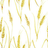 Watercolor pattern with wheat — Vector de stock