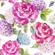 Watercolor rose patter for wallpaper — Stock Photo #63272461