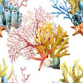 Watercolor corals set and ocean sponge — Stock Photo