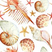 Watercolor corals, shell and starfish, pattern — Stock Photo