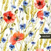 Poppy, cornflower, Watercolor flowers pattern — Stock Vector