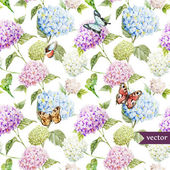 Watercolor Hydrangea  flowers pattern — Stok Vektör