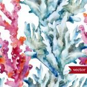 Watercolor corals set and ocean  sponge — Stock Vector