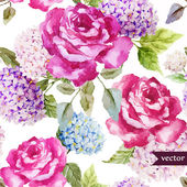 Roses pattern watercolor wallpaper — Vettoriale Stock