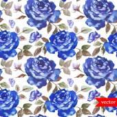 Blue roses pattern  watercolor  wallpaper — Stockvector