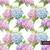 Hydrangea flowers watercolor pattern — Stock vektor