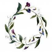 Watercolor petunia  flower  wreath — Stock Vector