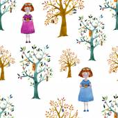 Watercolor girls and trees — Stock Vector
