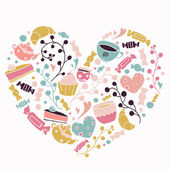 Pastries, sweets heart  hand drawn — Stock Vector