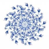 Round watercolor flower element — Vecteur