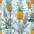 Постер, плакат: Watercolor pineapples tropical plants and fruits exotic pattern