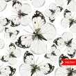 Watercolor butterflies pattern black and white — Stock Vector #64496305