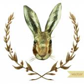 Watercolor drawing of  rabbit or hare in wreath — Stock Vector