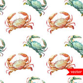 Watercolor sea crabs  pattern — Stock Vector