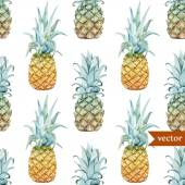 Watercolor pineapples, tropical plants and fruits - exotic pattern — Stock Vector