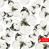 Watercolor butterflies pattern black and white — Vector de stock