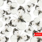 Watercolor butterflies pattern black and white — Vetor de Stock