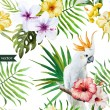 White parrot, hibiscus, tropical, palm trees, flowers, pattern, wallpaper — Stock Vector #64528607
