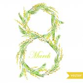 March 8, spring, flowers, card, symbol, mimosa, wreath, — Stock Vector