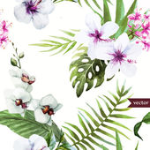 Watercolor, hibiscus, orchid, white, palm, tropical, pattern, background, wallpaper — Stock Vector