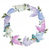 Lilac wreath and birds — Stock Vector
