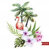 Flamingo with palms and flowers — Stock Vector