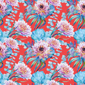 Nice floral watercolor seamless pattern — ストックベクタ