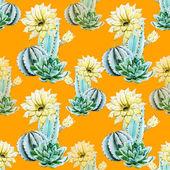 Watercolor cactus pattern — Stock Vector