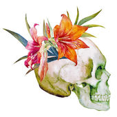 Watercolor skull with flowers — Stock Vector