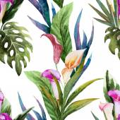 Tropical watercolor seamless pattern — Stock Vector
