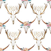 Watercolor pattern with deer head — Stock Vector