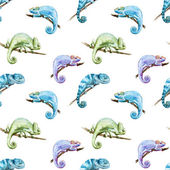 Watercolor vector pattern reptiles chameleon — Stock Vector