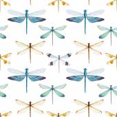 Watercolor dragonflies pattern — Stock Vector