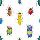 Watercolor bug beetle pattern — Stock Vector