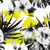 Watercolor hibiscus patterns — Stock Vector
