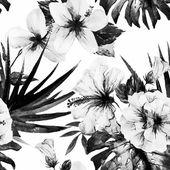 Motifs d'hibiscus aquarelle — Vecteur