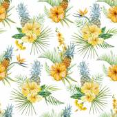 Beautiful vector pattern with watercolor tropical flowers — Vettoriale Stock