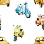 Watercolor retro scooter and car pattern — Stock Vector