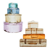 Nice watercolor baggage — Stockvektor