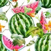 Watercolor watermelon melon pattern — Stock Vector