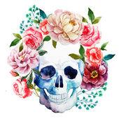 Watercolor skull — Stock Vector