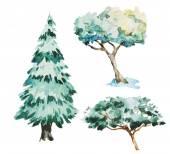 Акварель деревьев — Cтоковый вектор