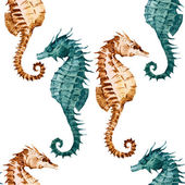 Watercolor seahorse pattern — Stock Vector