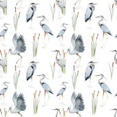 Watercolor heron pattern — Stock Vector